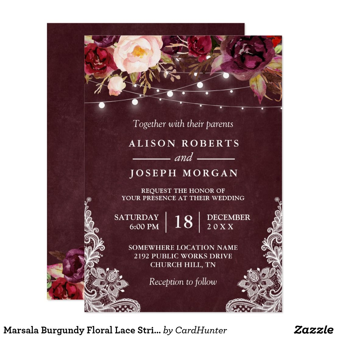 77d554c153c Marsala Burgundy Floral Lace String Lights Wedding Invitation ...