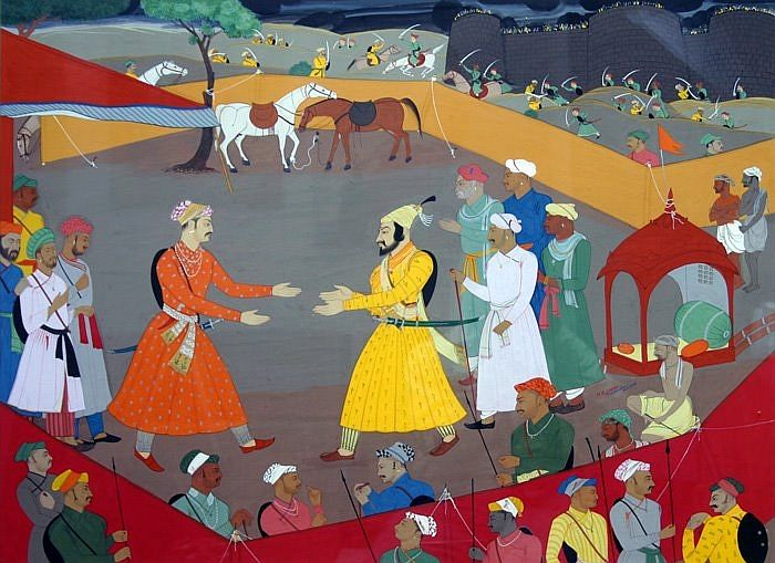 Mughal India Madhubani Painting Great Warriors