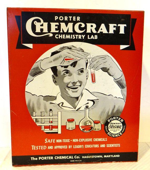 Vintage Porter chemistry set Chemcraft model 6105 by thewildburro, $54.00