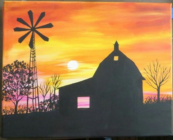 Pin By Taylor Wong On Drawing Free Spirited Barn Painting Fall Canvas Painting Sunset Painting