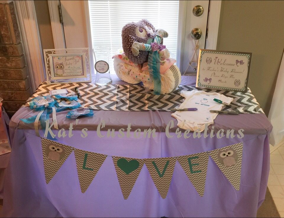 Owl Lavender, Turquoise, And Gray Chevron Baby Shower Welcome Table!
