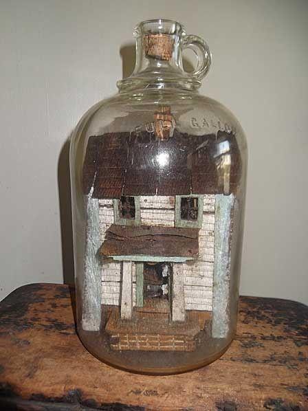 Outstanding 1930s Folk Art Bottle HOUSE Whimsy With Provenance