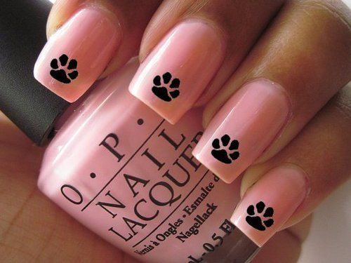 Nail WRAPS Nail Art Water Transfers Black Paw Print for Natural or ...