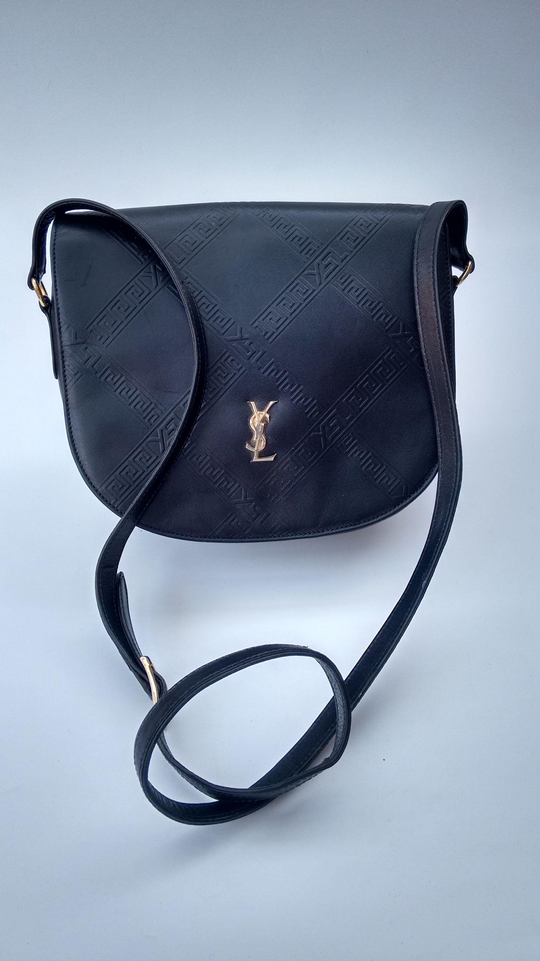 2959dfc29ed YSL Bag. Yves Saint Laurent Vintage Navy / Dark Blue and White Leather  Shoulder / Crossbody Bag. French designer purse