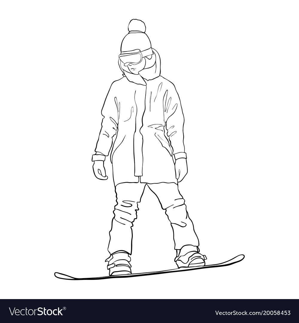 Drawing Snowboarder Vector Image On Snoubord Risunki