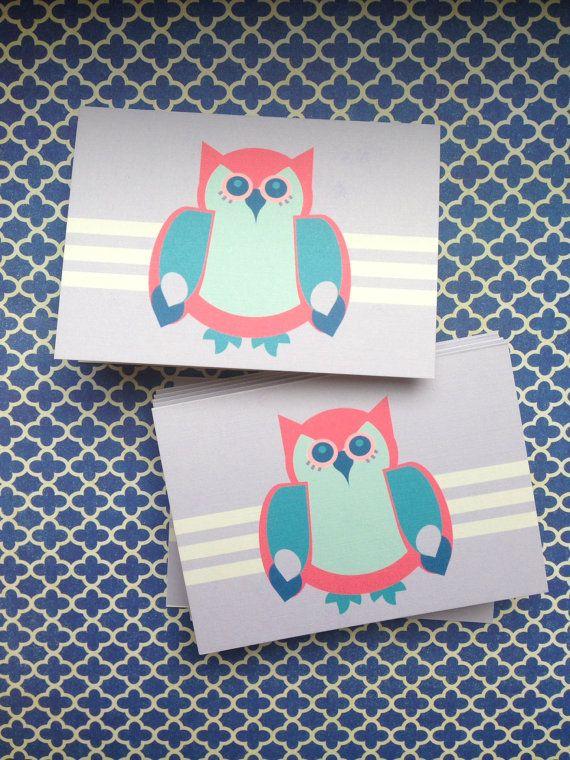 Owl Print Stationary Cards Set of 8 by PaperPeonyDesigns on Etsy