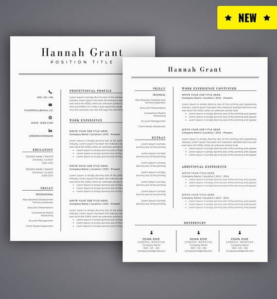 Cover Letter And Resume Builder: Resume Template / CV Template For Word, Cover Letter, Two