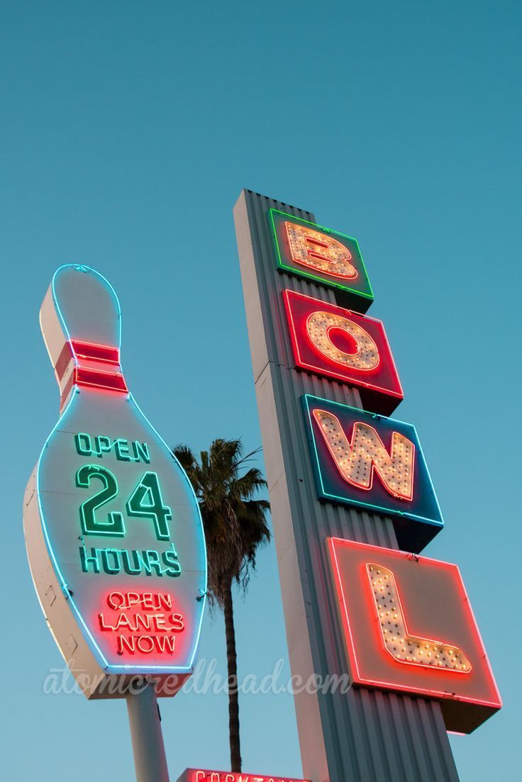 Linbrook Bowl, Anaheim, California | 1950s | 1960s | Neon | Americana | #vintage Sign