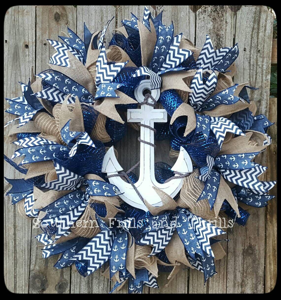 Nautical Wreath Beach Wreath Anchor Wreath Summer Wreath Burlap