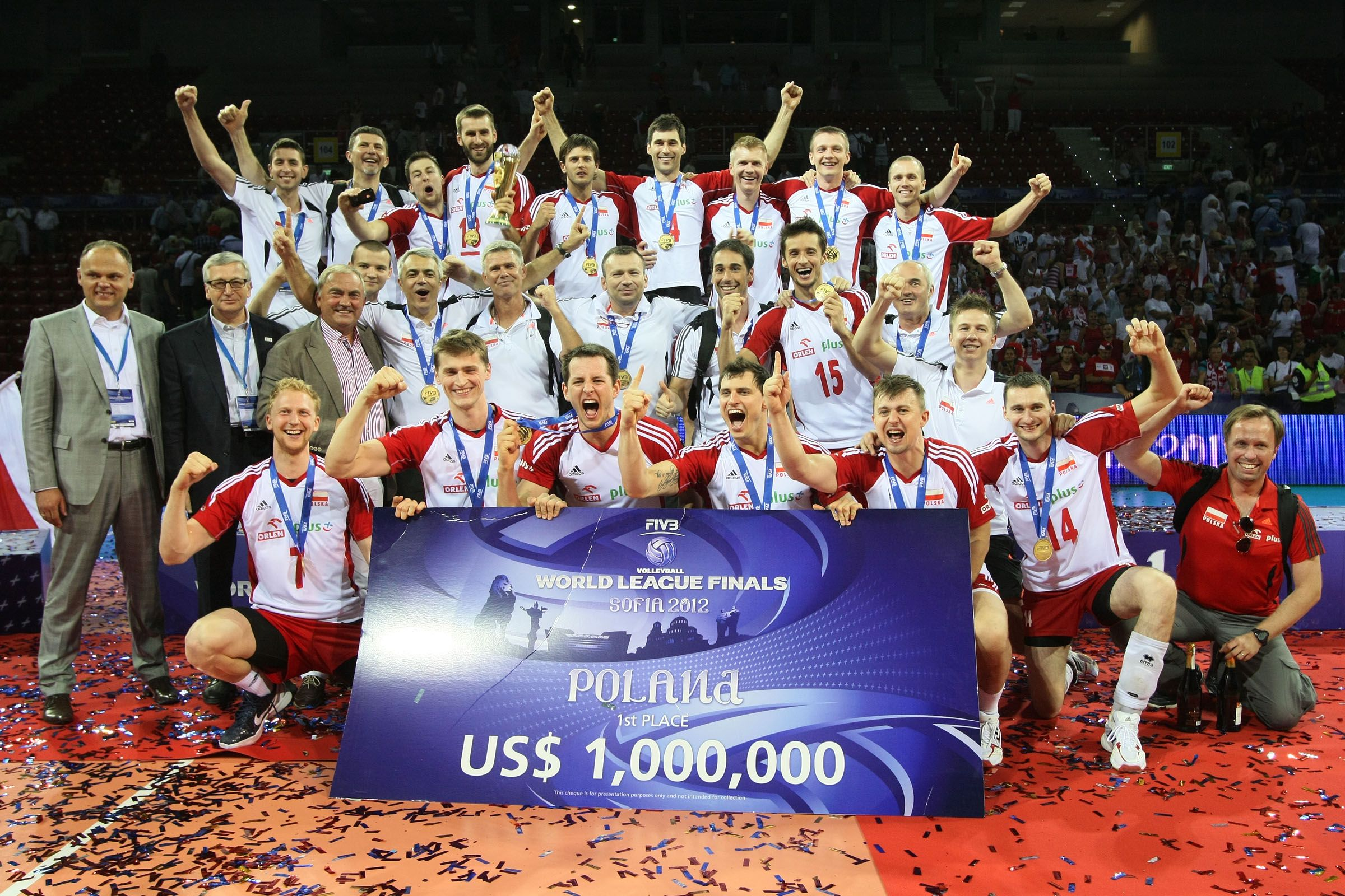 Polish National Volleyball Team The Winners Of Volleyball World League 2012 Photo Fivb Volleyball We Are The Champions Olympics Activities Olympic Medals