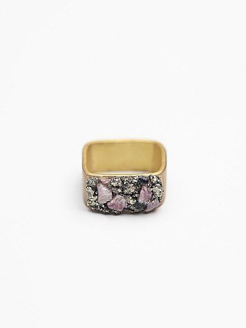 Stone Cluster Square Ring | Natural stone clusters make up this uniquely designed square ring. Fits comfortably around finger. *By Marly Moretti
