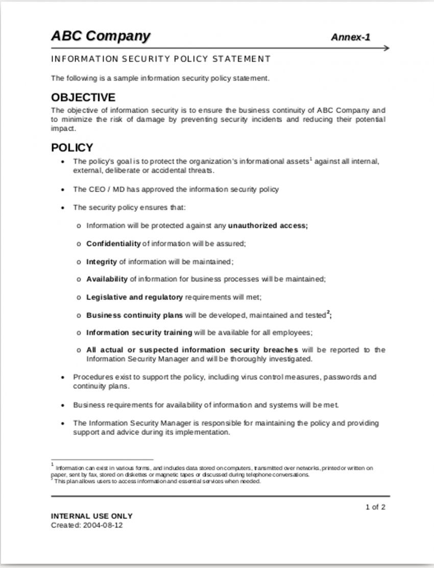 Browse Our Image Of Corporate Information Security Policy Template For Free Policy Template Business Continuity Templates Trucking company safety policy template
