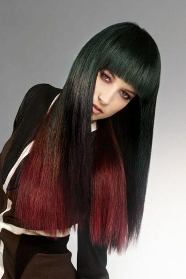 Schicke Frisuren Lange Schwarze Haare Mit Roten Nuancen Pinterrest