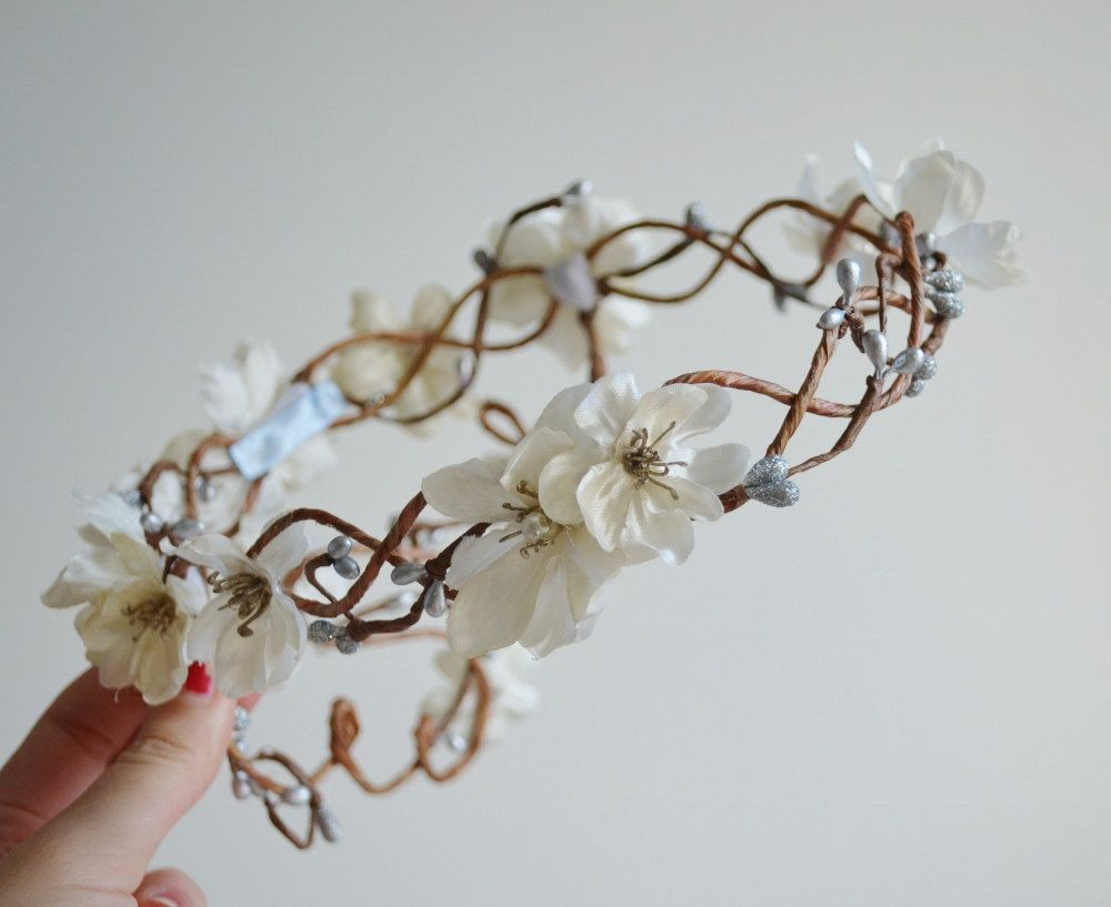 Wreath, Ivory flower head piece, bridal crown, whimsical hairband, wedding accessories - Diana. $70.00, via Etsy.