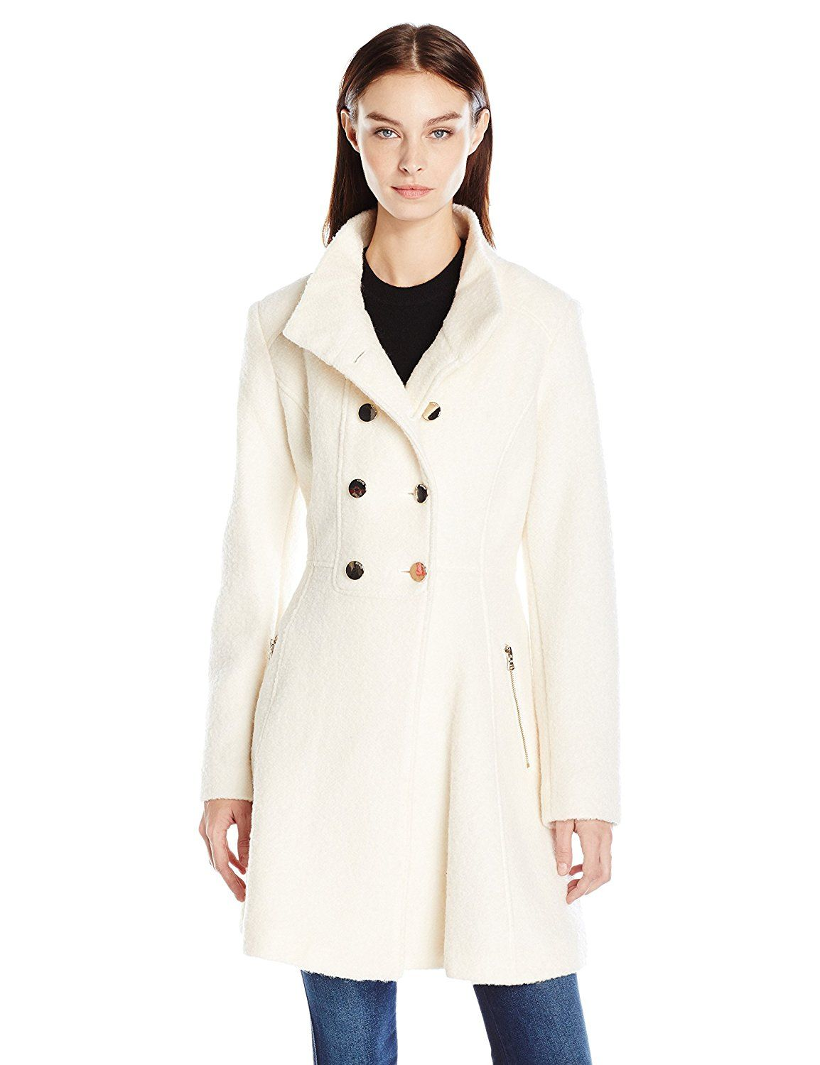 dce6e167c GUESS Women's Wool Boucle Military Flared Coat -- Click image for ...