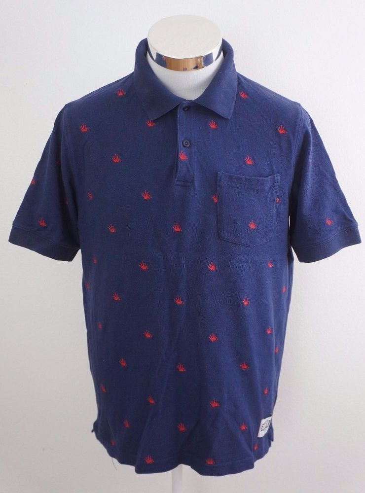 3029f6e1d198 Stussy Mens Navy Blue Crown Print Polo Shirt Cotton Short Sleeve Sz Medium   Stussy  PoloRugby