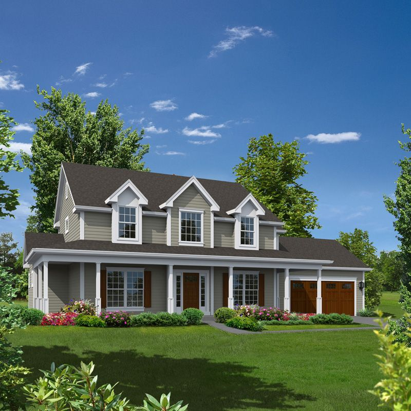 Grace country home house plans colonial house plans and for Two story house with wrap around porch
