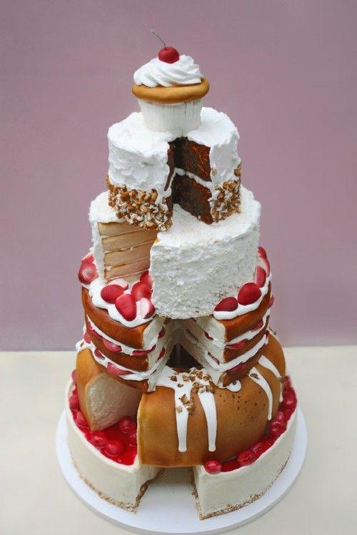 Cheese cake, bunt cake, pound cake vanilla cake, chocolate cake, and a cupcake! I LOVE THIS!!!!!!