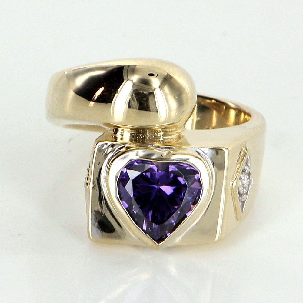 Amethyst heart ring diamond vintage k yellow gold estate fine