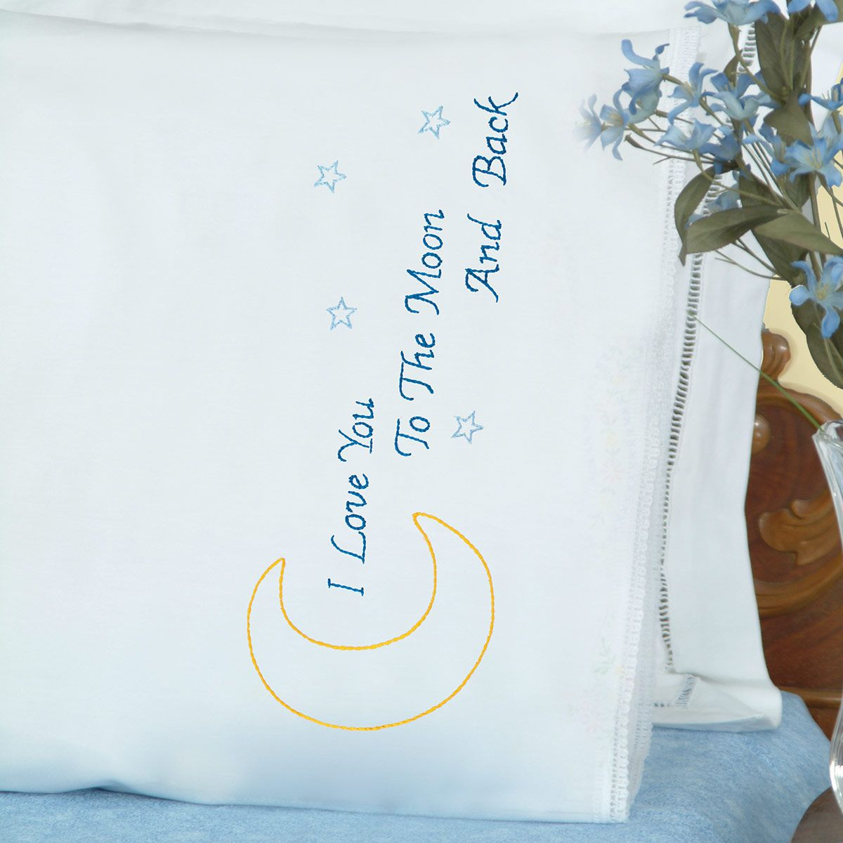 Love You to the Moon Lace Edge Pillowcases | Jack Dempsey Needle Art
