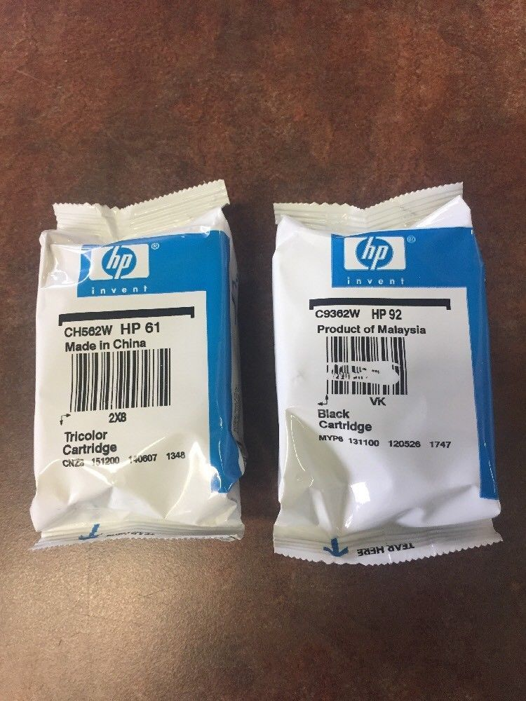 Genuine Hp 61 Tricolor Hp 92 Black Ink Cartridges Lot Of 2 Sealed Expired Hp Tri Color Black Ink Cartridge Ink Cartridge