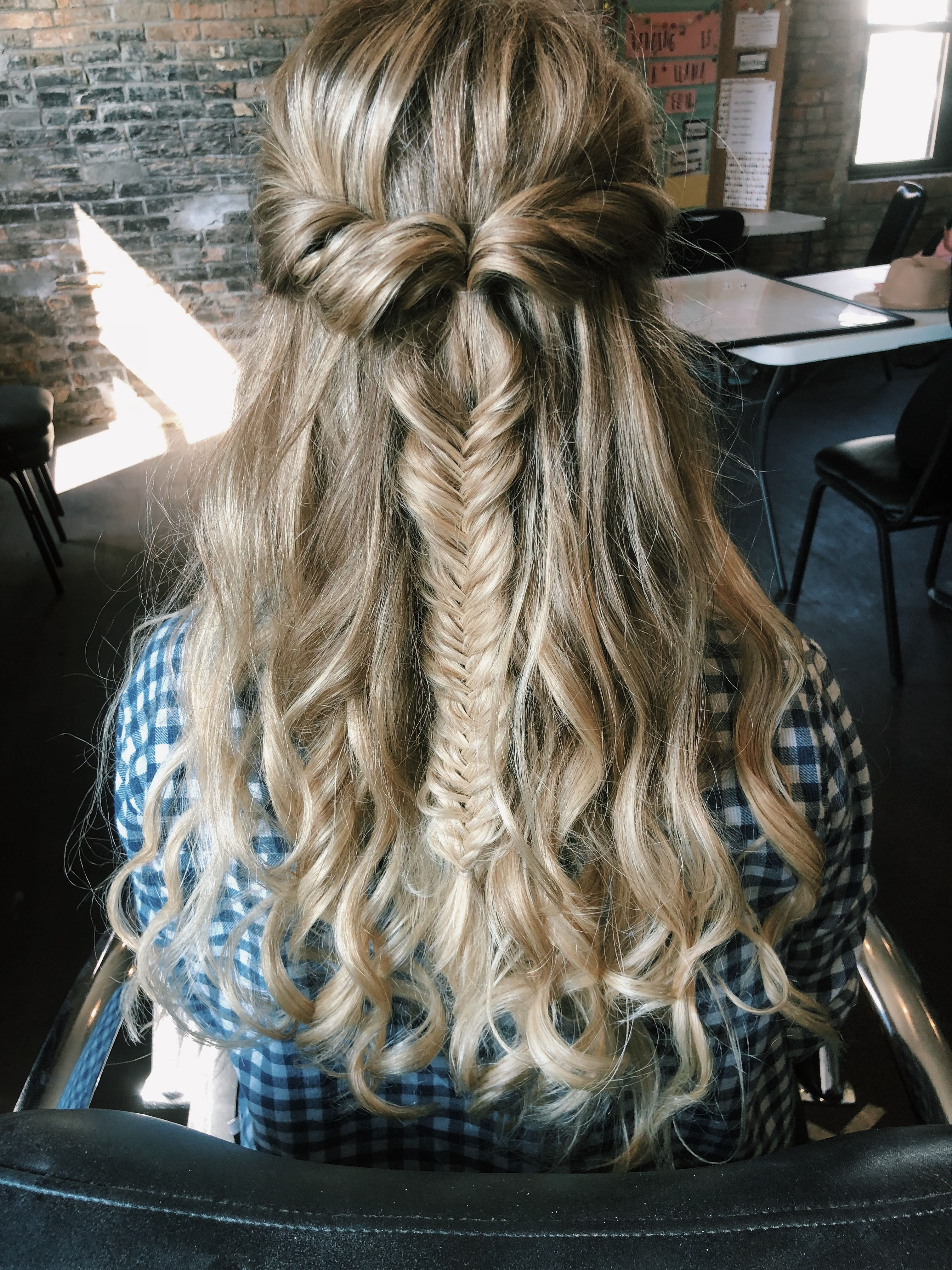 Half Up Half Down Fishtail Braid For Long Curly Hair Fish Tail Braid Curly Hair Styles Down Hairstyles