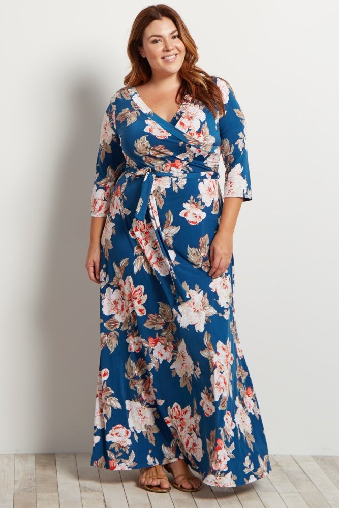 Navy Floral Plus Maxi Wrap Dress | Plus size maternity ...