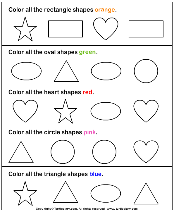 Download And Print Turtle Diary S Identify And Color Shapes Worksheet Our Large Collection Of Preschool Math Worksheets Shapes Preschool Preschool Worksheets