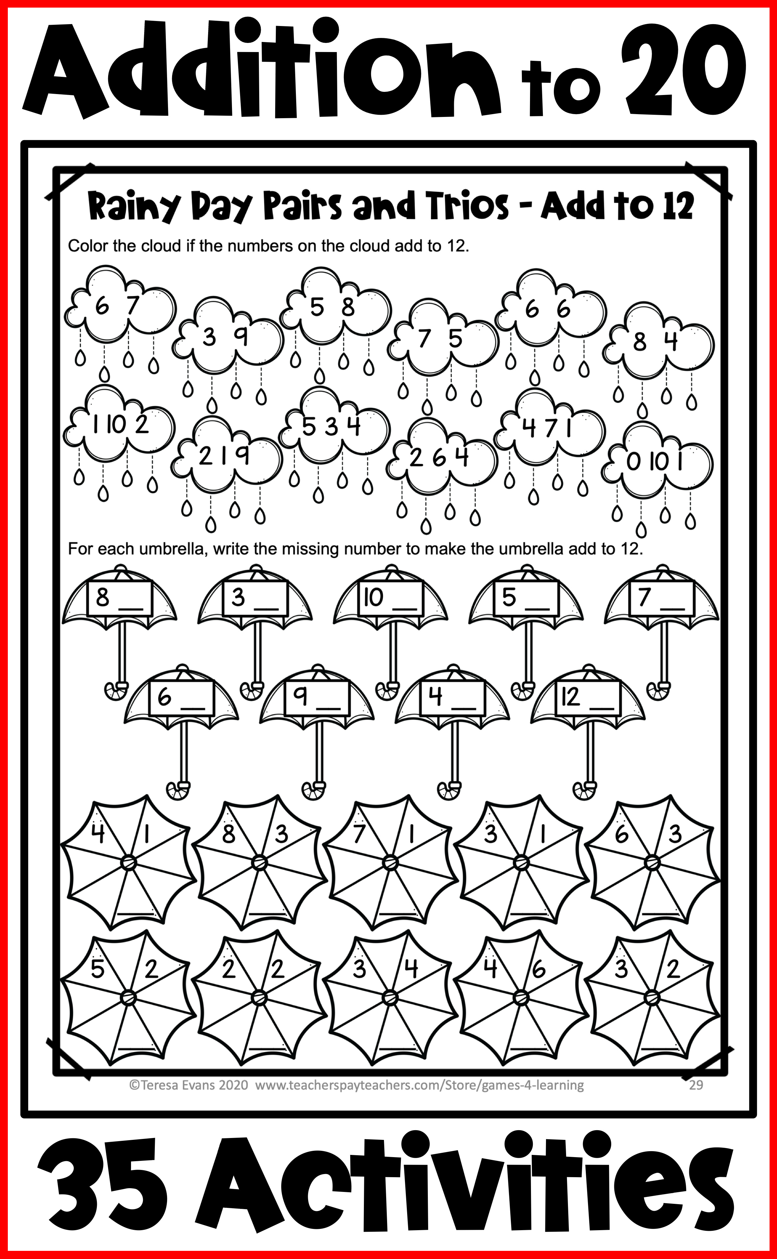 No Prep Addition Worksheets For Fact Fluency