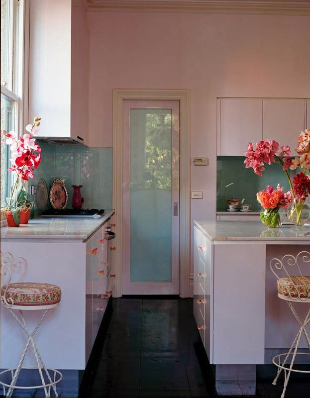 Pink Kitchen In The Home Of Australian Designer Alannah