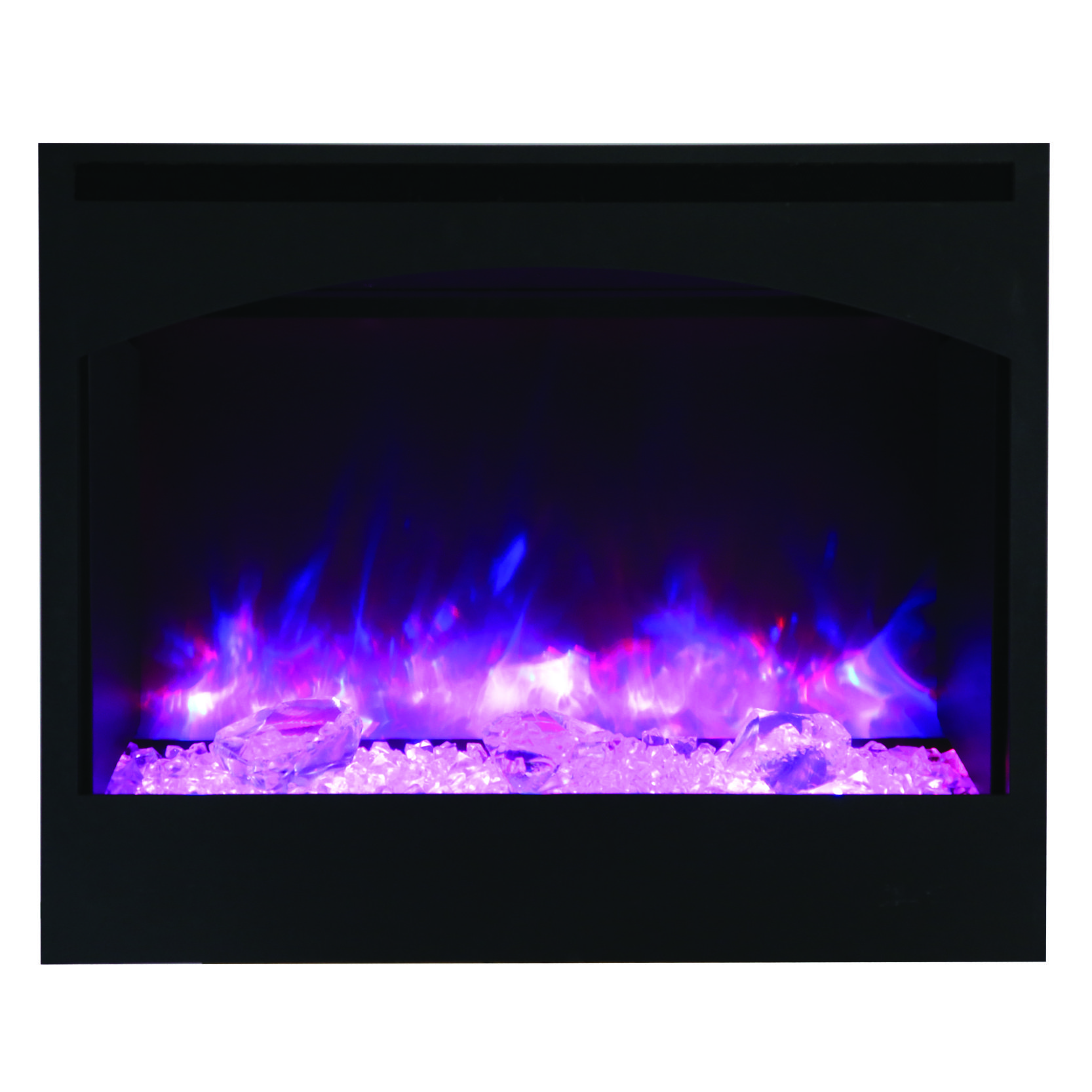 Amantii zero clearance arch surround electric fireplace with ice
