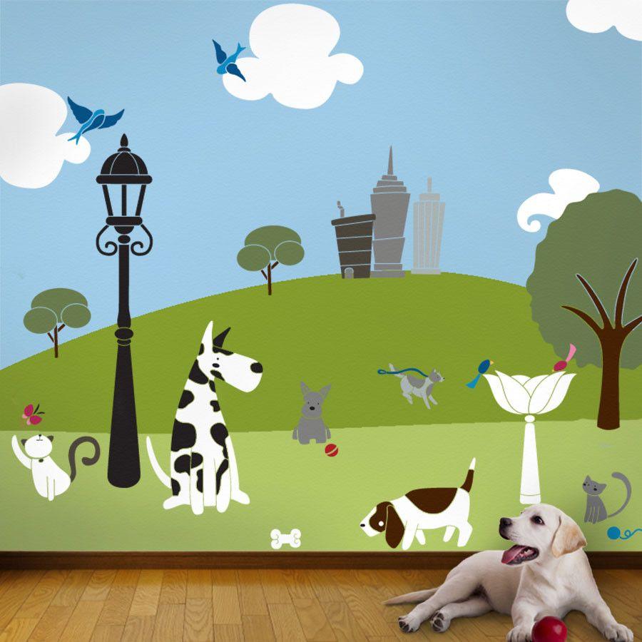 Wall painting stencils kids rooms paws park stencil kit  jjus bedroom  pinterest  dogs wall murals