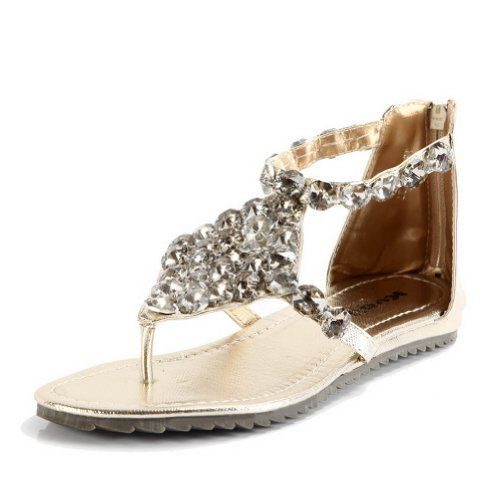 Kvoll Women's Open Toe T-strap Low Heels PU Sandals with Zipper and Rhinestones,Gold,36 Kvoll To see or buy click on Amazon here  http://www.amazon.com/dp/B00DVZ5FTC/ref=cm_sw_r_pi_dp_-RwItb18W379J62S