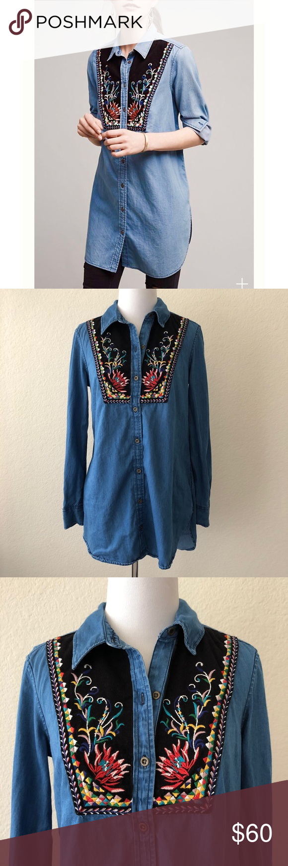 5c146fc5367 Anthropologie Holding Horses Murelet embroidered bib chambray button up tunic  top size 0. B14. Measurements: Armpit-armpit~17.5