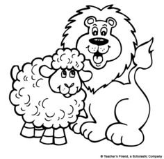 March Lion and Lamb Printable to Color or Glue Cotton