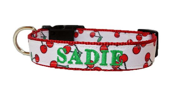 Personalized++one+inch+wide++Red+Cherries+by+TheMonogrammedMutt,+$28.00