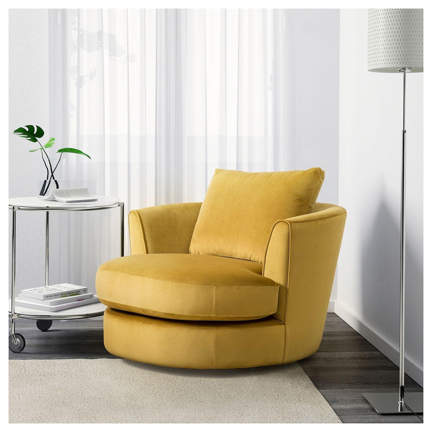Fasalt Velvet Yellow Swivel Armchair Ikea Armchairs Living Room Modern Yellow Decor Living Room Ikea Armchair