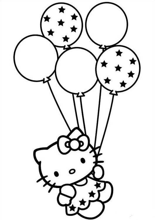 Hello Kitty Holding Balloons Coloring Pages For Kids Printable
