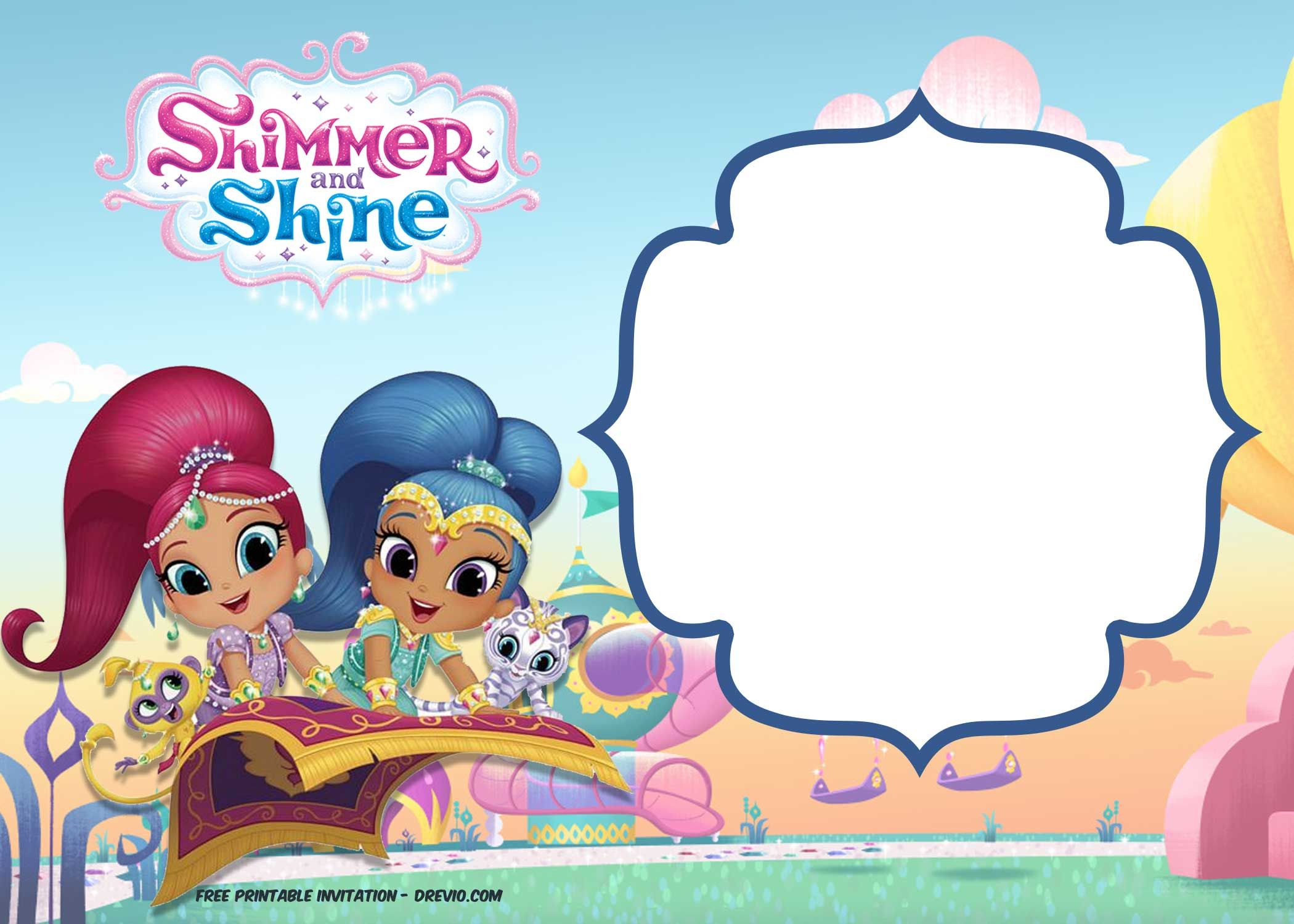 Free Shimmer And Shine Invitation Template Drevio Printable Birthday Invitations Free Printable Birthday Invitations Birthday Invitation Templates