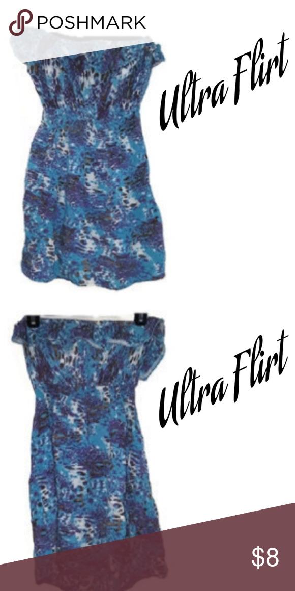 5bfc8ef65ed0 Ultra Flirt Multi Color Strapless Dress Medium Ultra Flirt Strapless Dress  slip on purple/white