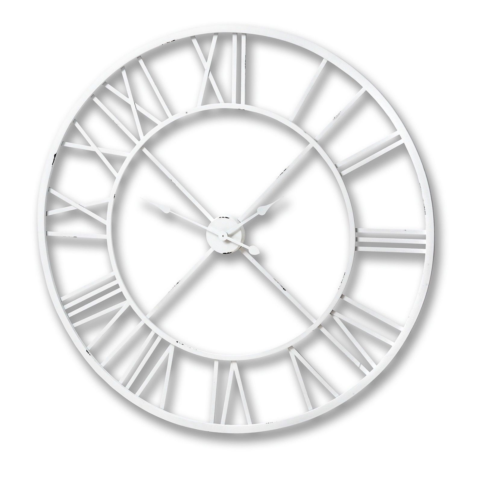 Large Antique White Iron Skeleton Metal Roman Numeral Wall Clock H17555 100cm Ebay Wall Clock Skeleton Wall Clock Roman Numeral Wall Clock