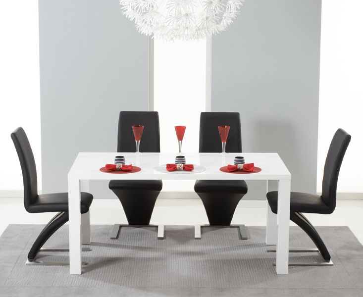 Hampstead 120cm White High Gloss Dining Table With Z Chairs Contemporaryfurniture