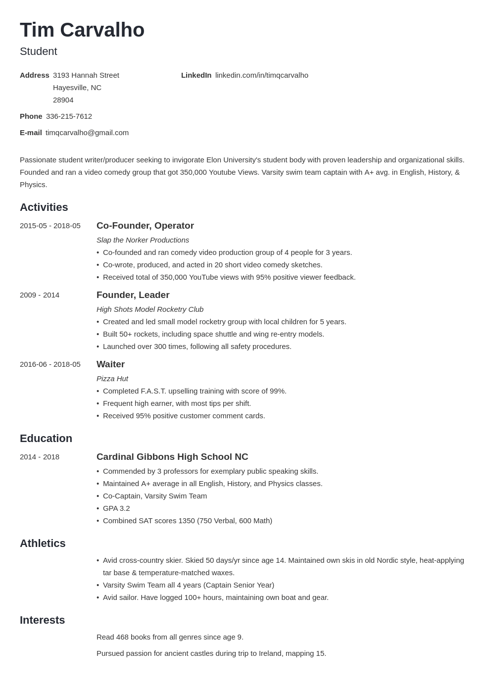 High school senior resume college admission