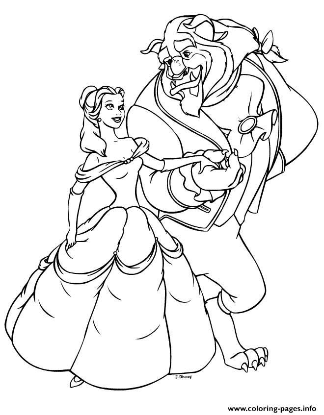 Print Princess Beauty Beast Belle Coloring Pages