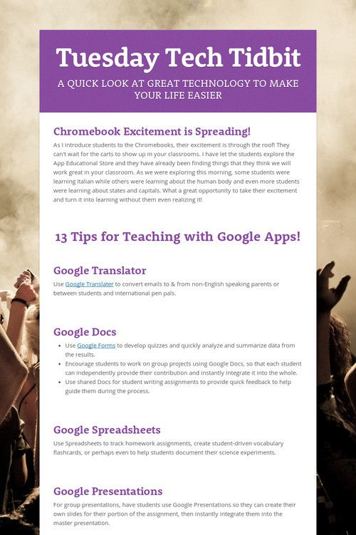 Tuesday Tech Tidbit--Tips for teaching with Google apps Tech for - google spreadsheets
