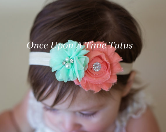 Coral Mint Ivory Spring Flower Bow Newborn Toddler Headband Baby Girl HairBow
