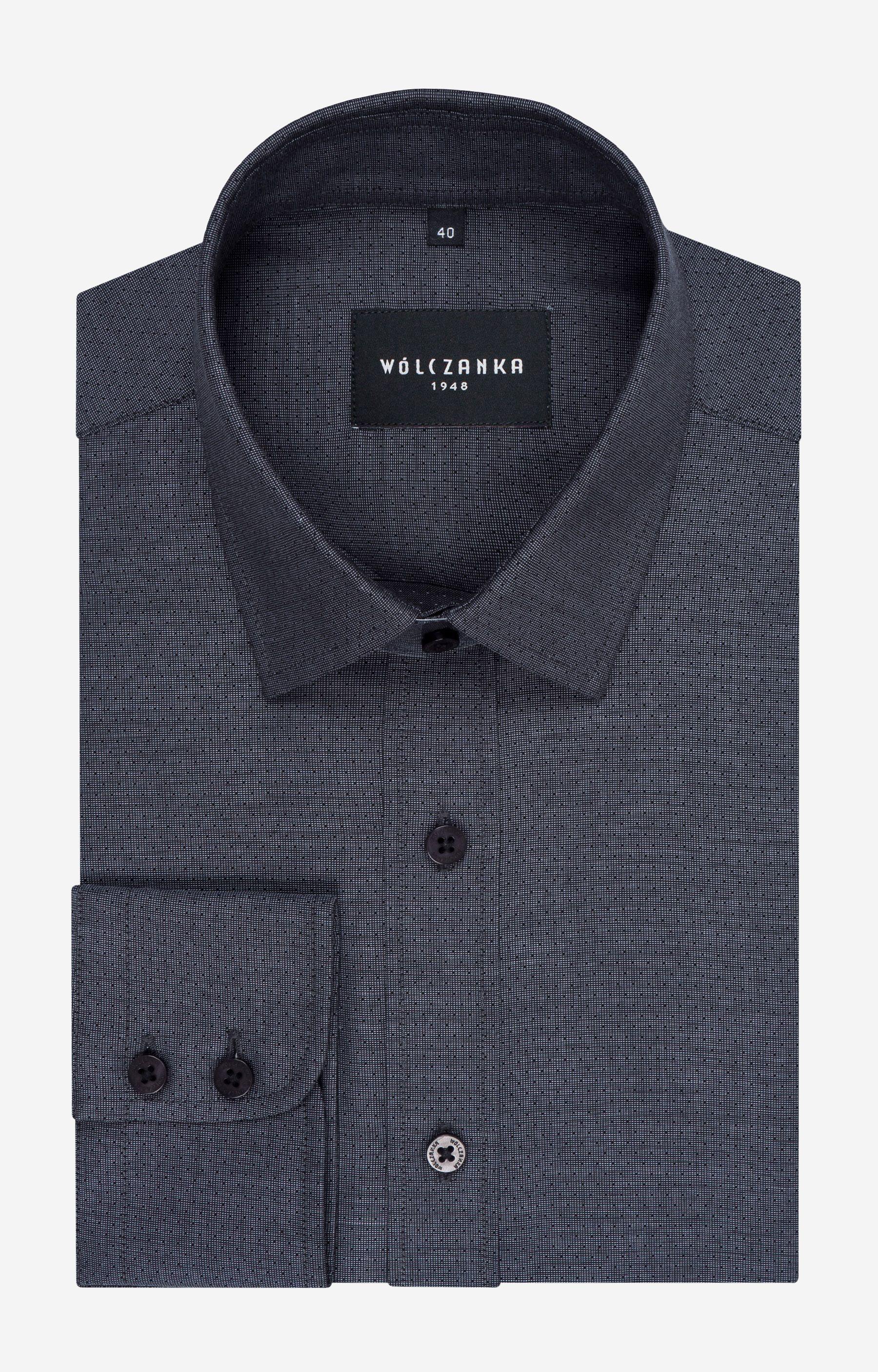 07c8733162c4c Kolorowe koszule męskie - Grafitowa koszula męska WÓLCZANKA - WS26WL7649 -  sklep Wólczanka.pl
