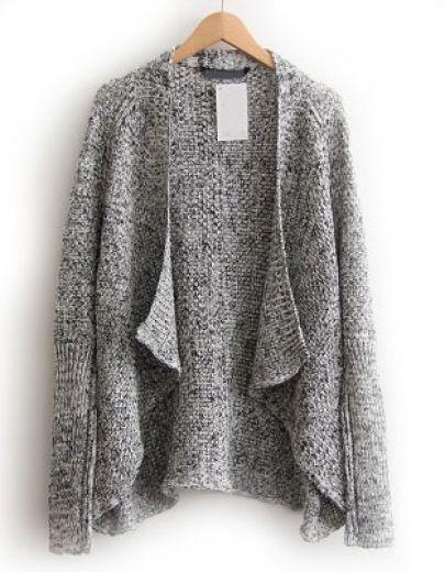 Cardigan en tricot décontracté -Gris pictures | Knitwear ...