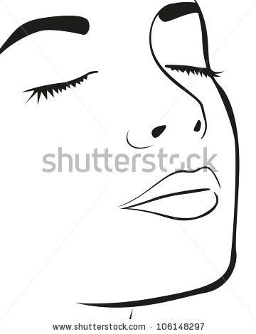 Silhouette Lines Of The Woman S Face Isolated On White Background