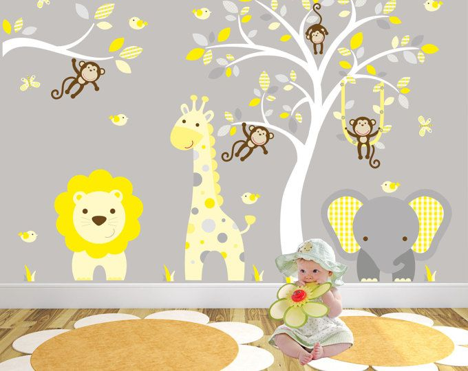 Safari Decal, Yellow and Grey nursery decor. Cheeky monkeys, giraffe ...